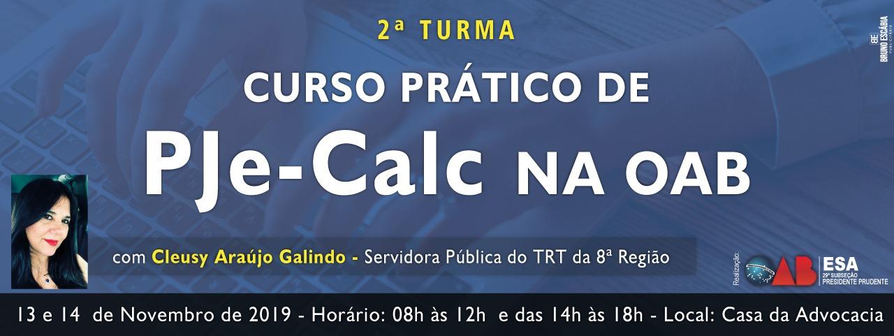 CURSO PRÁTICO DE PJE - CALC